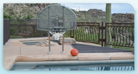 Basketball Set Complete 18 in Offset with 6 in Bronze Stanchion