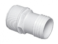 Plumbing - Hose Adapters - Male Barb Adapter 1 1/2 in MPT x 1 1/2 Hose White