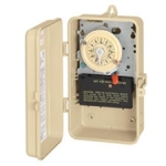 Plastic T100 Series Mechanical Time Switch, 208-277V, DPST Switch