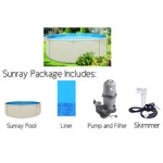 """Sunray 18' Round, 48"""" Deep Above Ground Pool (Includes Skimmer, Filter, Pump, and Liner)"""
