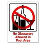 No Glassware in Pool Area Sign 9 inches x 12 inches
