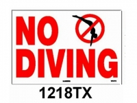 No Diving Sign with Image 12 inches x 18 inches