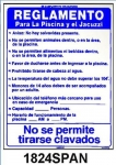 Pool Rules Sign in Spanish 18 inches x 24 inches
