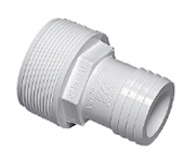 Plumbing - Hose Adapters - Male Barb Adapter 2 in MPT x 1 1/2 Hose White