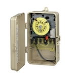 Plastic T100 Series Mechanical Time Switch, 220 Volts DPST w/SPDT Heater Cut off Switch