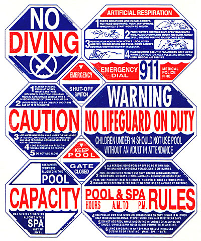 8 Way California Pool Safety Sign Lowest Online Price