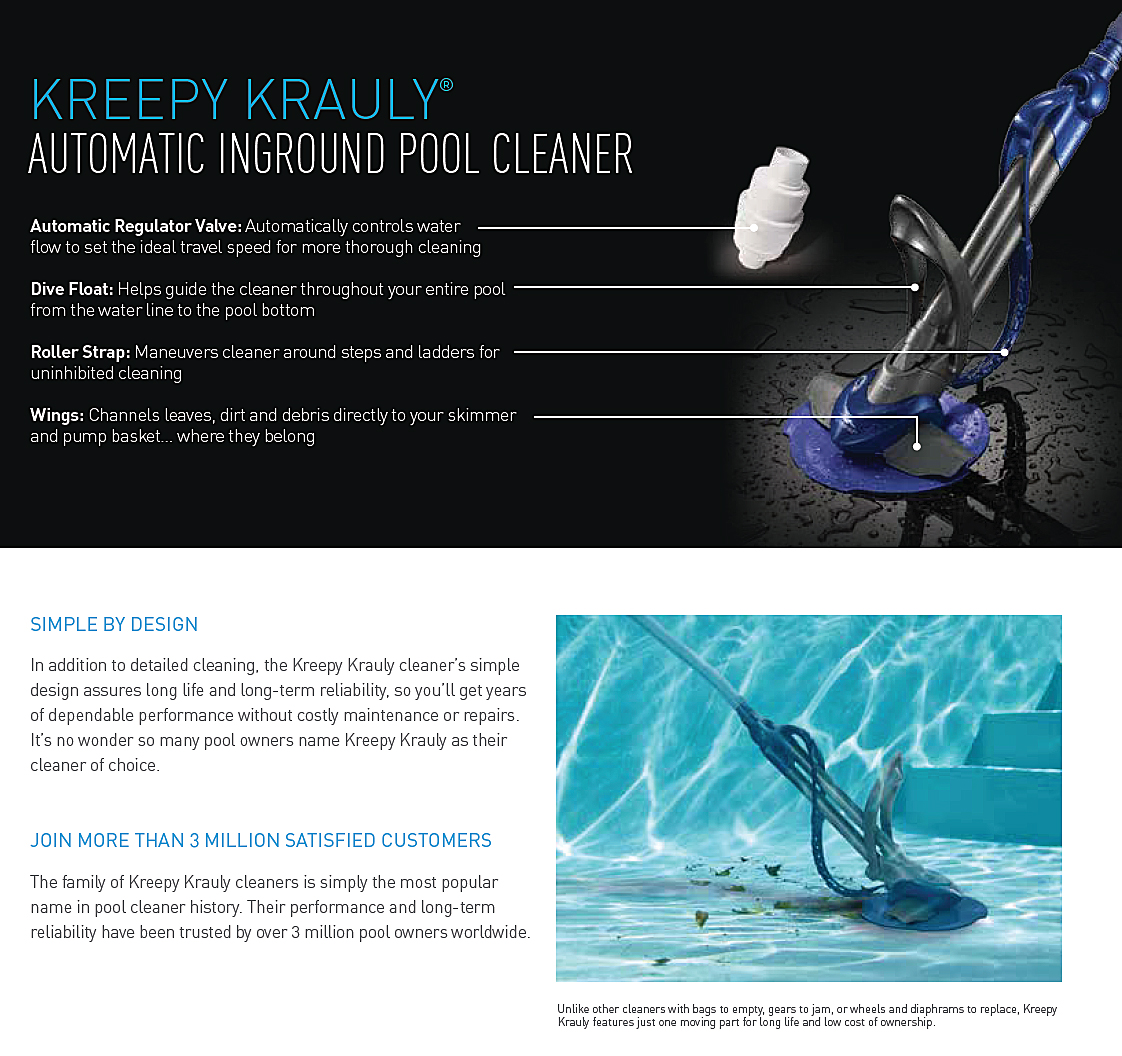 Kreepy Krauly Automatic Pool Cleaner Pleated Seal Free Shippi
