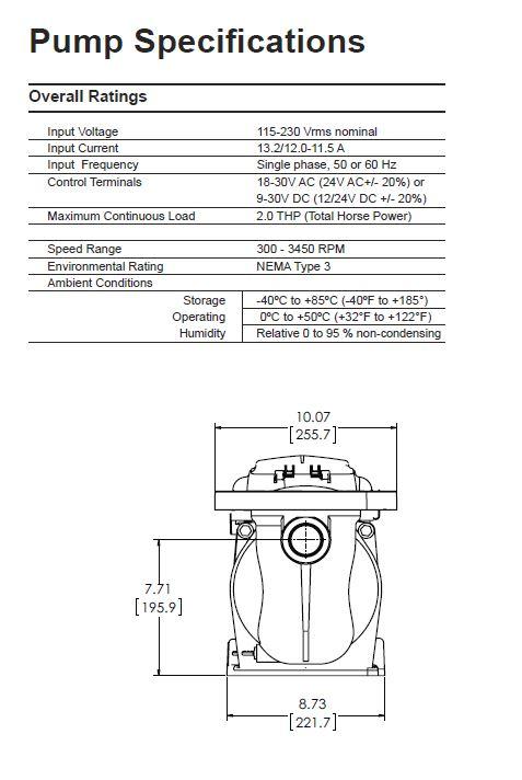 Superflo Vs Variable Speed Pump Tefc Motor 1 5 Hp 115 23