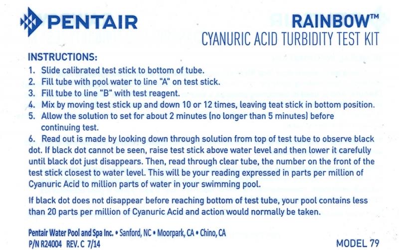 Rainbow Cyanuric Acid Test Kit