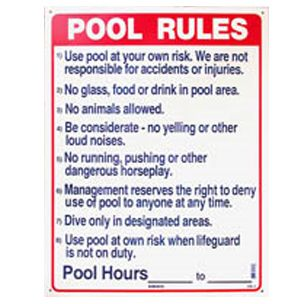Commercial Pool Rules Sign 18 Inches X 24 Inch
