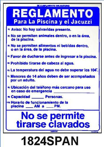 Pool Rules Sign In Spanish 18 Inches X 24 Inch