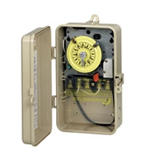 Plastic T100 Series Mechanical Time Switch, 120V SPST Switch, Heater Protection